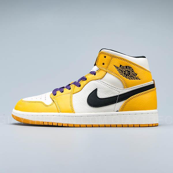 Giày Air Jordan 1 Mid SE Lakers Trắng Vàng