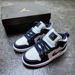 Giày Jordan 1 Mid White Metallic Gold Obsidian Trắng Xanh Navy