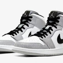 Giày Jordan 1 Mid Light Smoke Grey Trắng Xám