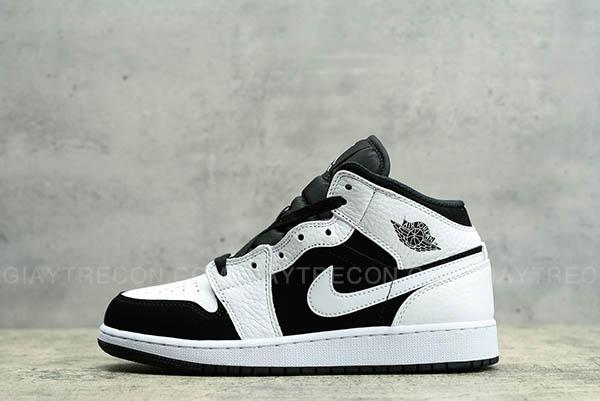 Giày Jordan 1 Mid White Black Trắng Đen