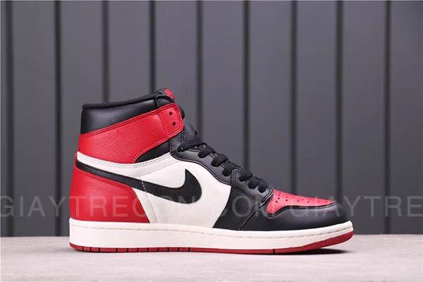 Giày Jordan 1 High Bred Toe Đen Đỏ