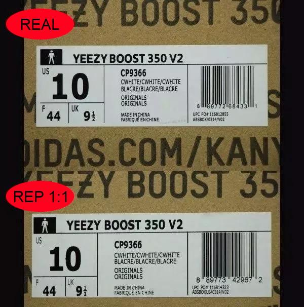 So sánh nhãn hộp giày 350