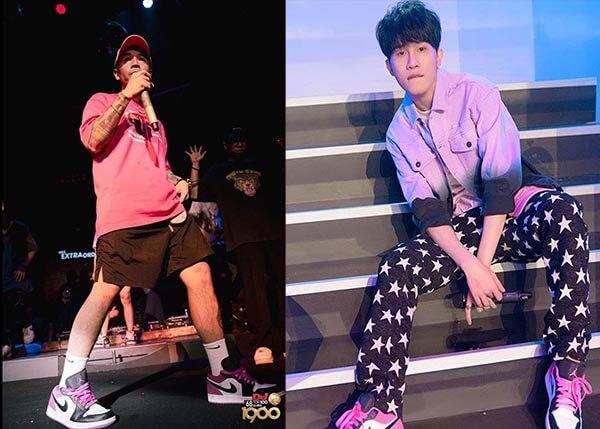 Binz và Jack J97 phối đồ với Giày Air Jordan 1 Low Black Pink Active Fuchsia Đen Hồng
