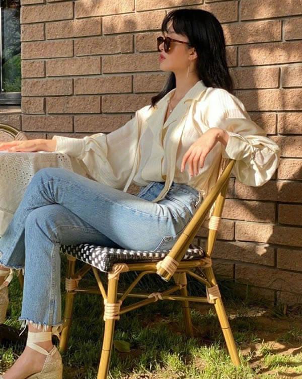 Kết hợp áo sơ mì với quần jean