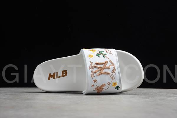 Dép MLB chữ thêu NY trắng