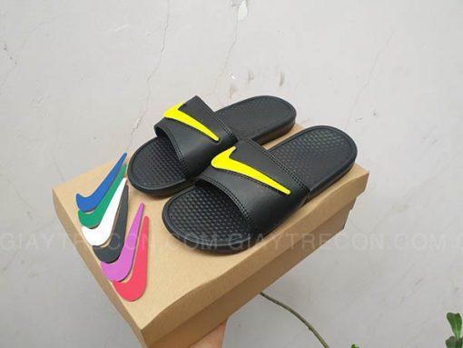 Dép Nike Benassi đổi Swoosh màu đen
