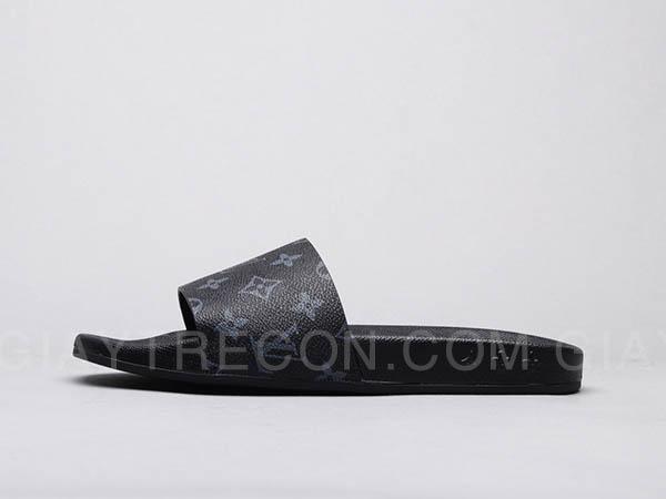 Dép Louis Vuitton Waterfront Mule Monogram Đen