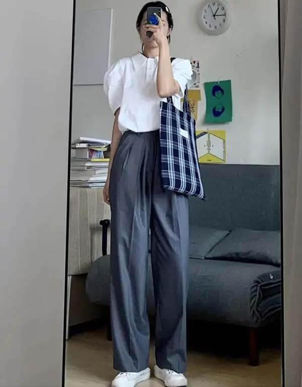Áo Polo trắng + quần tây xám